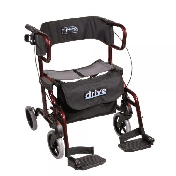 Diamond Deluxe faltbarer Rollator und Rollstuhl in einem