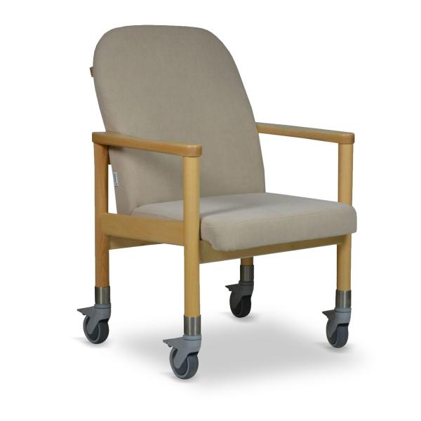 Polsterstuhl auf Rollen als Trippelstuhl oder Transportstuhl