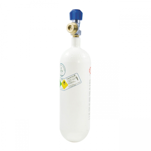 Sauerstoff-Flasche 2 Liter gefüllt 200 bar