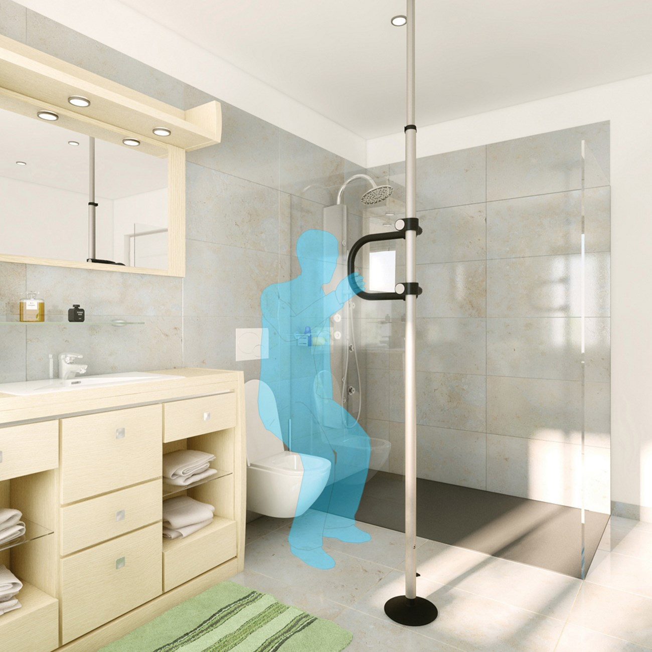 bodendeckenstange f r bad und wc online sanit tshaus. Black Bedroom Furniture Sets. Home Design Ideas