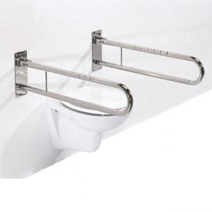 Schwenkstützklappgriff für das Bad aus Edelstahl hochglanzpoliert